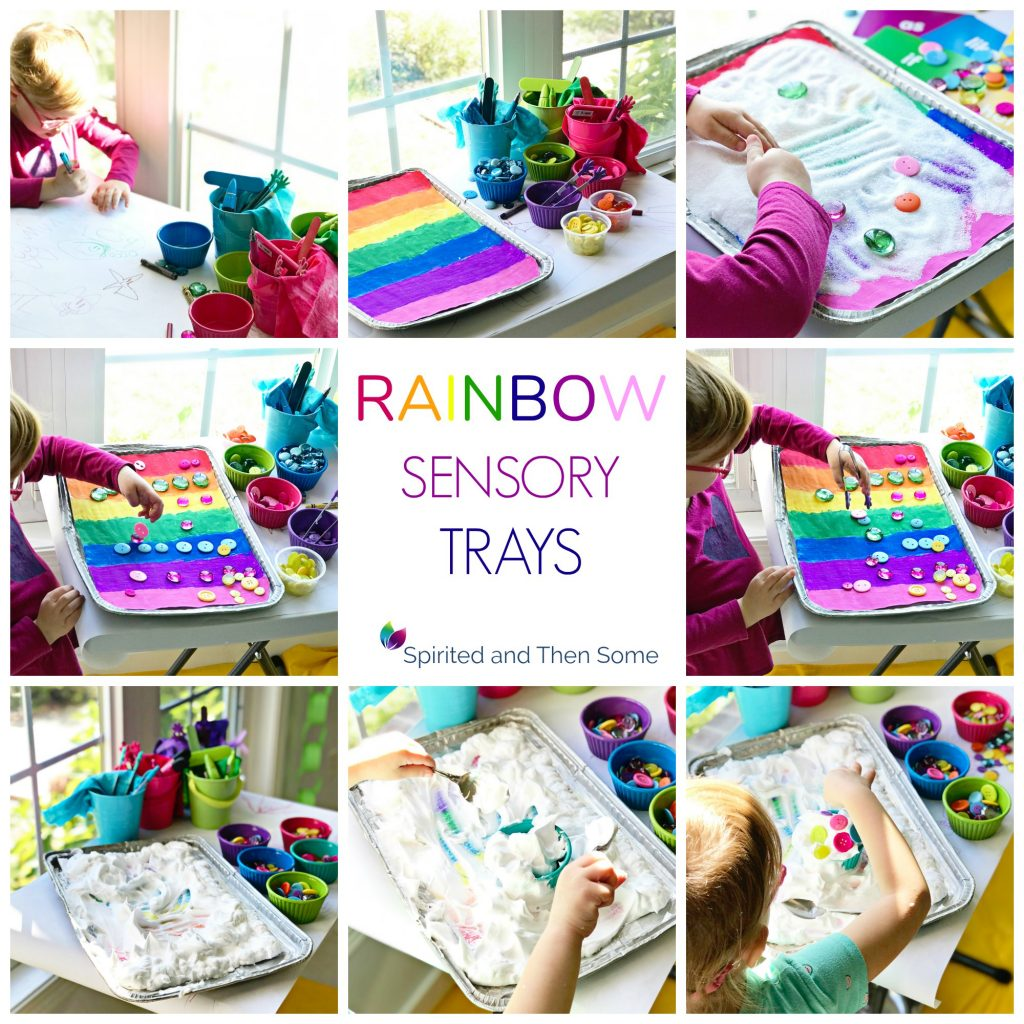 Rainbow Sensory Trays are the perfect easy, low-cost sensory activity for children of all ages! | spiritedandthensome.com