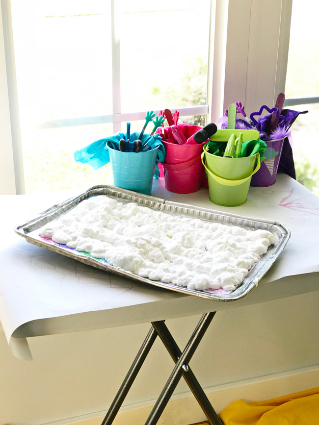 Shaving cream setup for Rainbow Sensory Tray activities! | spiritedandthensome.com