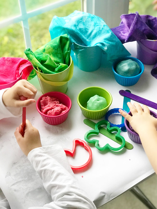 Toodle and Twinkle cooperate while they play with Gluten-Free Playdough and loose parts play! | spiritedandthensome.com