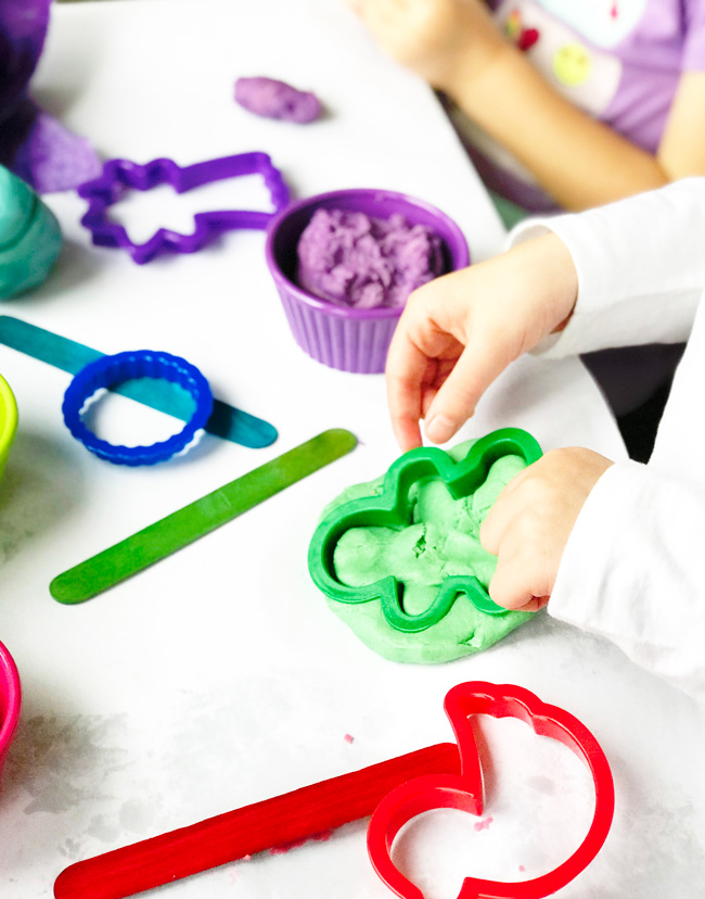 Toodle plays with cookie cutters and Gluten-Free Playdough for countless open-ended activities! | spiritedandthensome.com