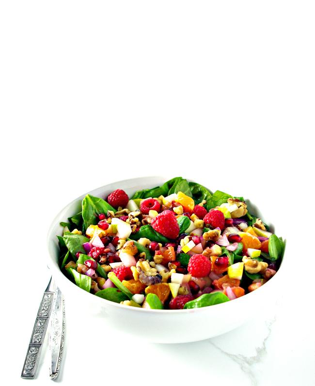 Pomegranate Pear Salad is the perfect Thanksgiving or Christmas salad recipe! GF + DF + Paleo! | spiritedandthensome.com
