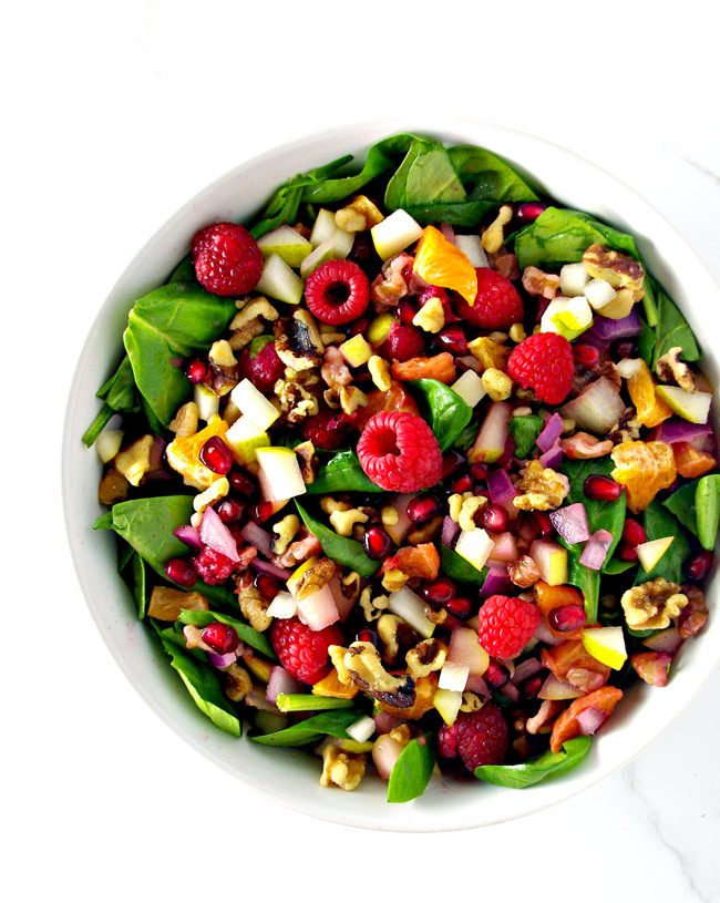 Pomegranate Pear Salad is full of delicious sweet and savory flavors! GF + DF + Paleo! | spiritedandthensome.com