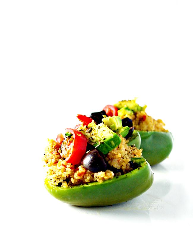 Spicy Quinoa-Stuffed Peppers are full of cumin, oregano, garlic, and onion! {Vegan + Gluten-Free!} | spiritedandthensome.com