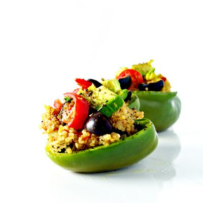 Spicy Quinoa-Stuffed Peppers are the perfect vegan and gluten-free quick dinner recipe! | spiritedandthensome.com