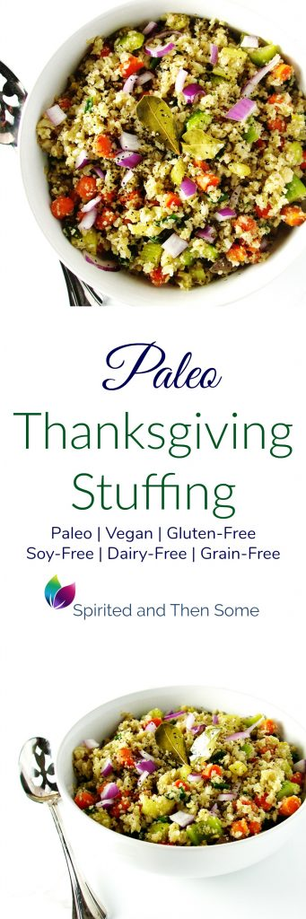 The BEST Paleo Thanksgiving Stuffing is full of thyme and sage and is ready in about 45 minutes! Vegan, paleo, Gluten-free, dairy-free, and soy-free! | spiritedandthensome.com