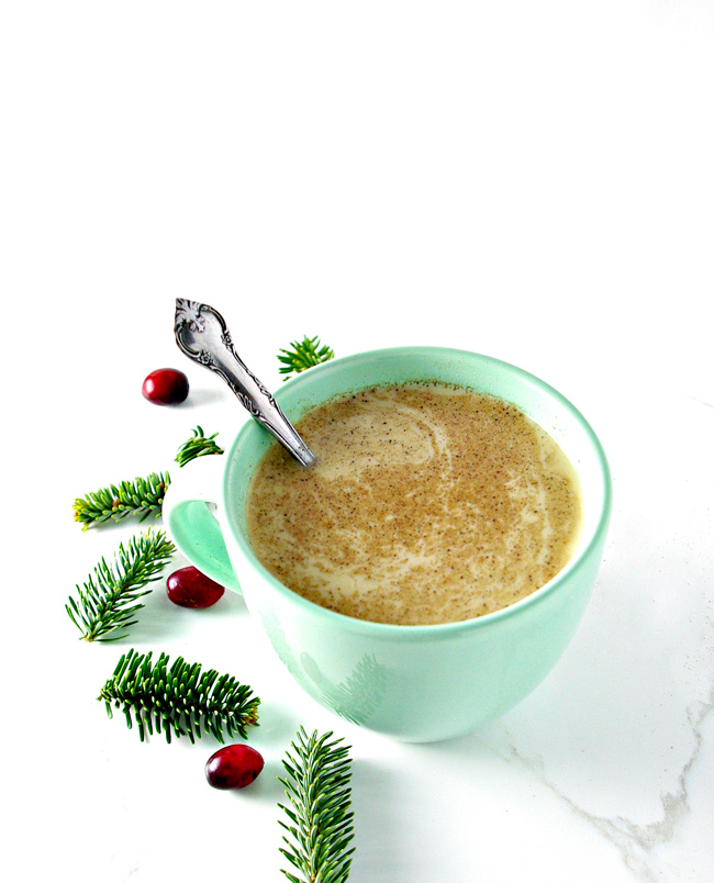 Dairy-Free Eggnog is rich, creamy, full of holiday spices, and is gluten-free! | spiritedandthensome.com