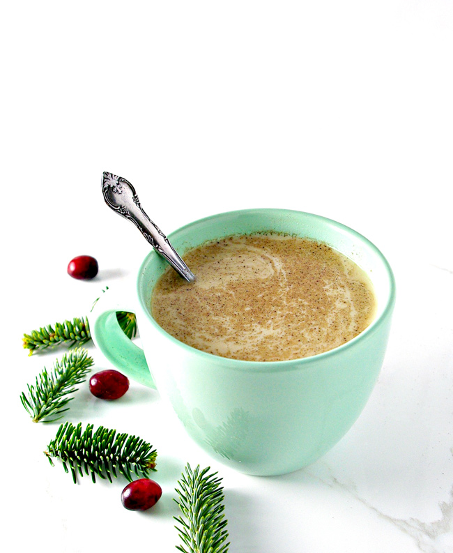 Dairy-Free Eggnog is deliciously gluten-free and tastes just like a cinnamon roll! | spiritedandthensome.com
