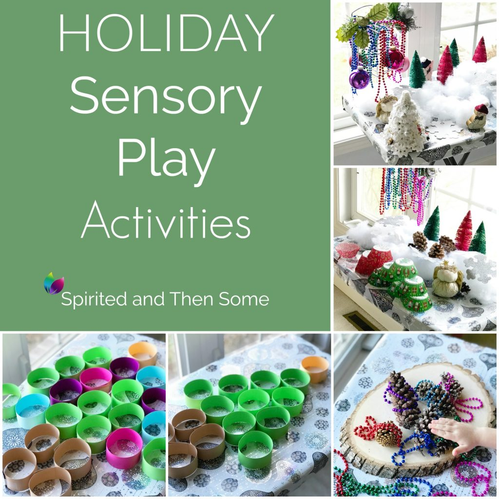 Holiday Sensory Play Activities using loose parts and holiday decorations! It's hours of fun for all ages! | spiritedandthensome.com