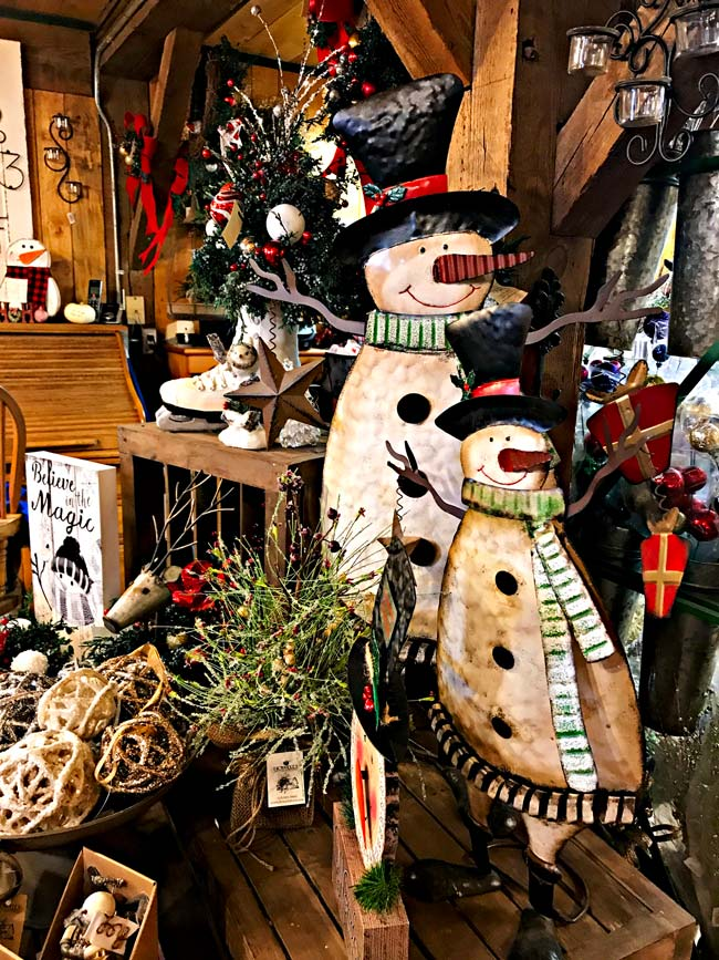 Snowmen figurines for sale at Howell Tree Farm! | spiritedandthensome.com