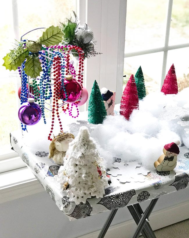 Winter wonderland decorations for loose parts play and holiday sensory play activities! | spiritedandthensome.com