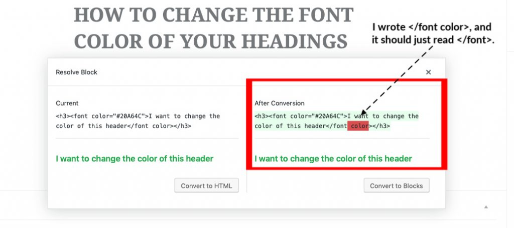how to change heading color in html