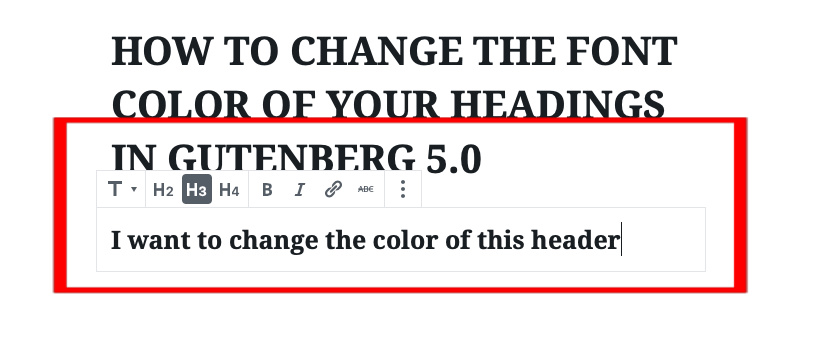 3 - Fill in the name of the header Gutenberg Editor | spiritedandthensome.com