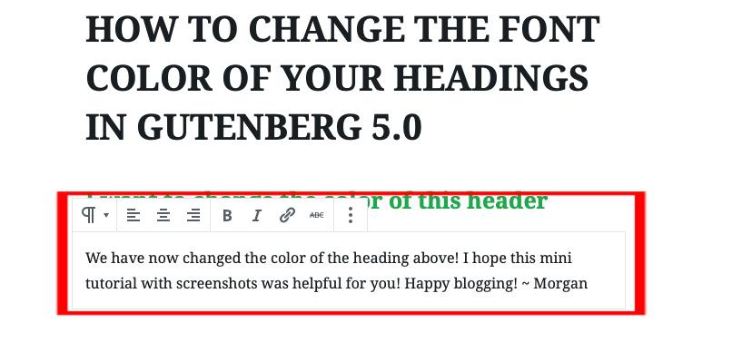 9 - Begin typing in the new block Gutenberg Editor | spiritedandthensome.com