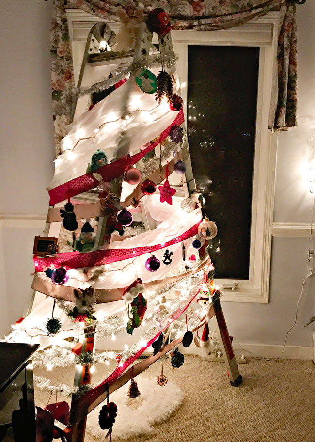 The girls decided they want a Christmas tree ladder next year! | spiritedandthensome.com