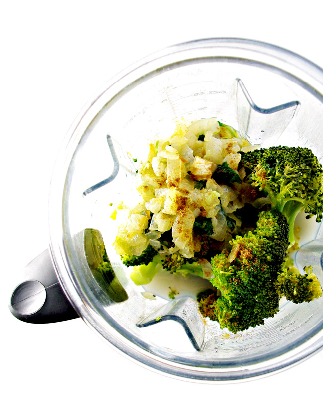 Dairy-Free Creamy Broccoli Soup ingredients in a Vitamix! | spiritedandthensome.com