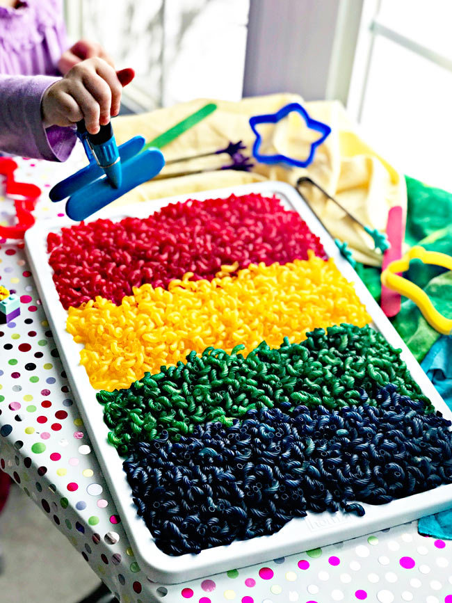 How to dye pasta for sensory play for hours of fun and unlimited pay ideas! | spiritedandthensome.com