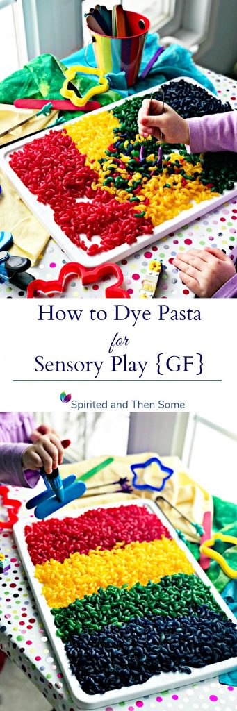 How to dye pasta for sensory play activities in just a matter of minutes for hours of endless fun! Gluten-free recipe that kids can help with! | spiritedandthensome.com