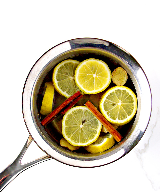 Delicious Lemon Ginger Tea ingredients in a saucepan! | spiritedandthensome.com