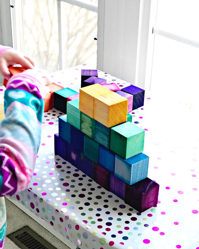 Make your own Grimm's rainbow wooden blocks! | spiritedandthensome.com
