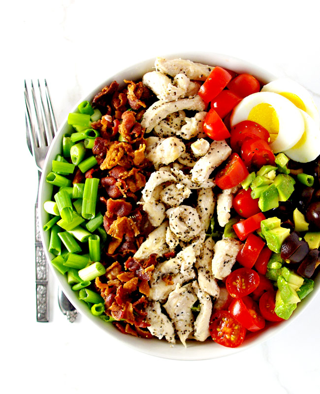 This Paleo Cobb Salad recipe is perfect for lunch and meal prep ideas! | spiritedandthensome.com