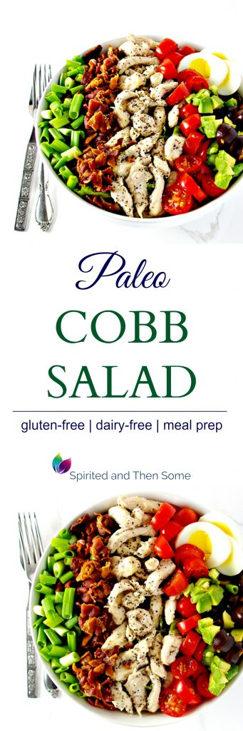 This Paleo Cobb Salad is a delicious gluten-free salad recipe that is comfortably filling and ideal for weekly meal prep ideas! | spiritedandthensome.com