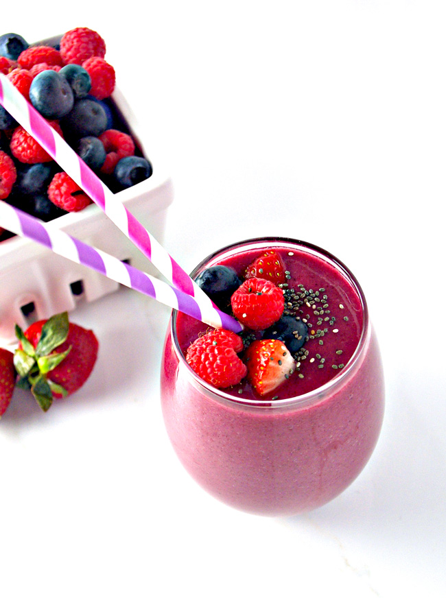 Triple Berry Power Smoothie is tangy and delicious and ready in minutes! | spiritedandthensome.com