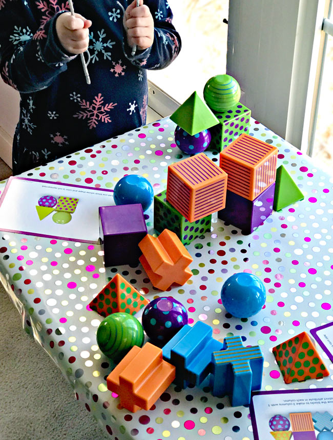 Twinkle plays with Mental Blox building toys! | spiritedandthensome.com