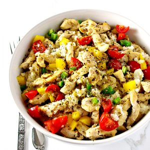 This Chicken Cauliflower Rice Bowl is a delicious, easy paleo dinner the whole family will enjoy!   spiritedandthensome.com
