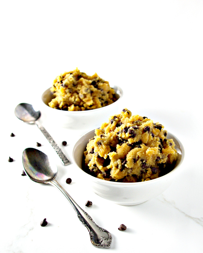 This Edible Cookie Dough recipe is ready in minutes and a no-bake dessert treat for two! | spiritedandthensome.com