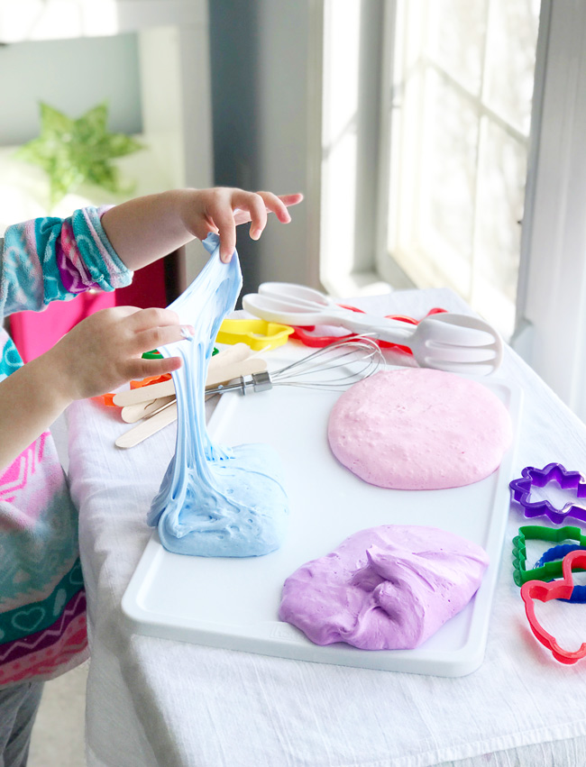 How to make Fluffy Slime with just three base ingredients and about 5 minutes! | spiritedandthensome.com