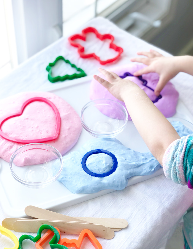 How to make Fluffy Slime for sensory play activities! Borax-free and ready in minutes! | spiritedandthensome.com