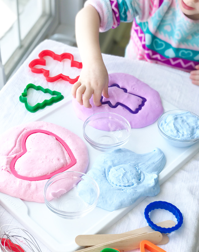 This Fluffy Slime recipe with contact solution is super-easy to make! | spiritedandthensome.com