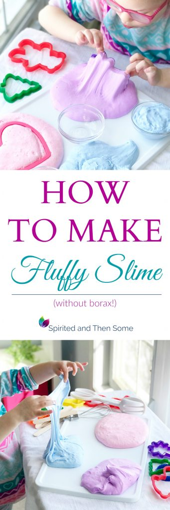 This recipe shows you how to make 3-ingredient Fluffy Slime without borax! It is a blast to play with and happens to be our family's favorite slime recipe! | spiritedandthensome.com