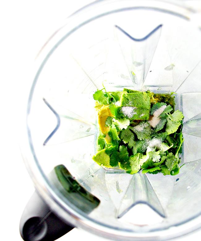 Lemon Avocado Dressing ingredients in a Vitamix! | spiritedandthensome.com