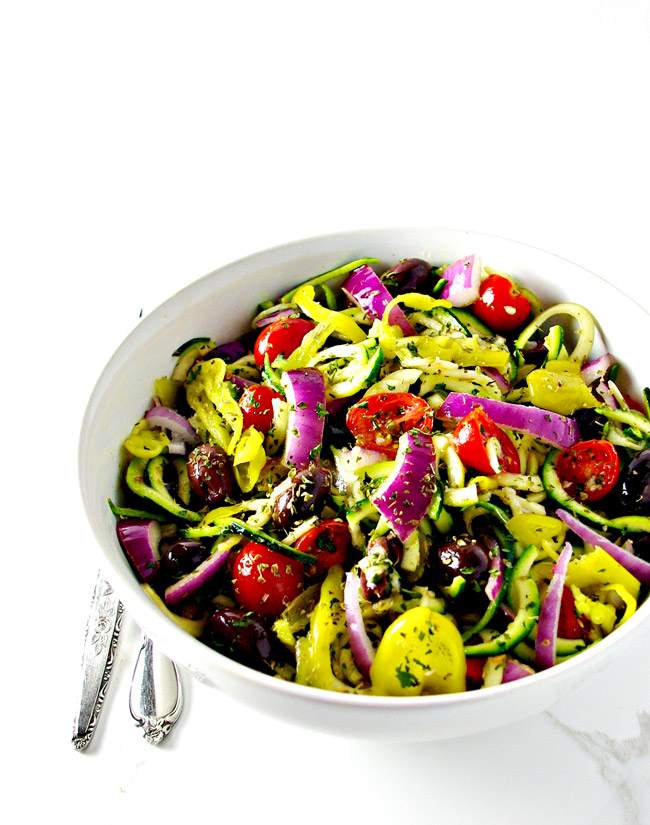 Mediterranean Zucchini Noodle Pasta is a delicious paleo and vegan dinner recipe everyone can enjoy! | spiritedandthensome.com