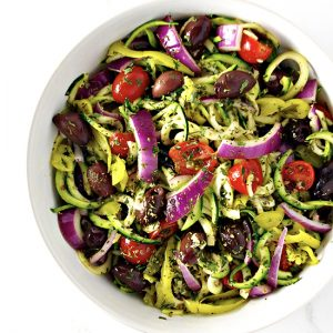 Mediterranean Zucchini Noodle Pasta is an easy paleo dinner recipe! | spiritedandthesome.com