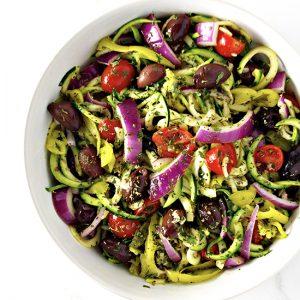 Mediterranean Zucchini Noodle Pasta is an easy paleo dinner recipe!   spiritedandthesome.com