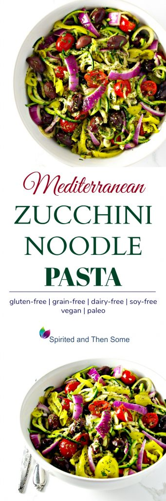 Mediterranean Zucchini Noodle Pasta is a delicious paleo dinner recipe, featuring pepperonchinis, kalamata olives, oregano, and parsley! Vegan, paleo, grain-free, and gluten-free! | spiritedandthensome.com