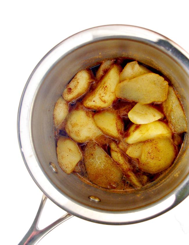 Paleo Pear Butter ingredients in a saucepan! | spiritedandthensome.com