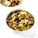 Paleo Zuppa Toscana is a delicious gluten-free soup recipe that uses cauliflower in place of potatoes! | spiritedandthensome.com