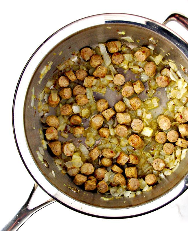 Paleo Zuppa Toscana ingredients in a saute pan! | spiritedandthensome.com