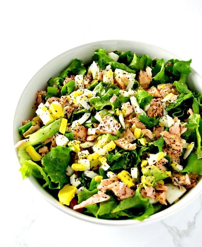 Salmon Avocado Salad is a delicious gluten-free salad recipe that is easy to prepare! | spiritedandthensome.com
