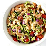 Paleo Shrimp Avocado Salad is as delicious meal that can easily double as a gluten-free dinner recipe! | spiritedandthensome.com