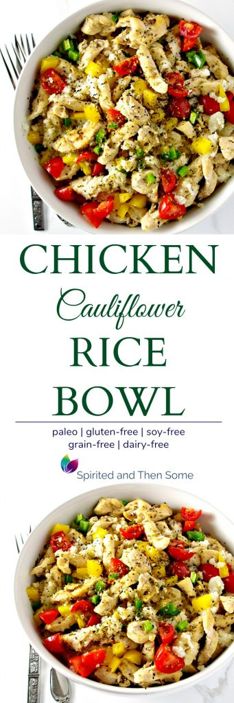 This Chicken Cauliflower Rice Bowl is a delicious paleo dinner recipe the whole family can enjoy! It's full of oregano, cumin, jalapeños, and other delicious flavors! {Paleo} | spiritedandthensome.com