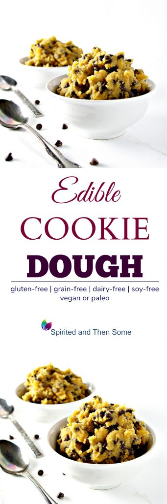 This egg-free Edible Cookie Dough recipe is ready in 5 minutes! It's a crowd-pleaser! {Vegan or paleo!} | spiritedandthensome.com