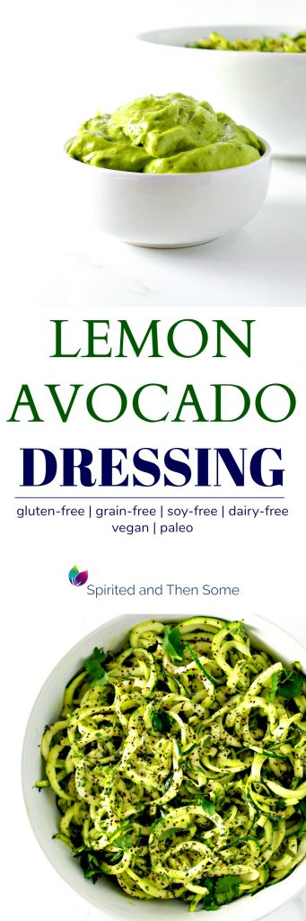 This rich, creamy dairy-free Lemon Avocado Dressing is vegan and paleo and totally delicious! Add it to salads and veggie noodle dishes, hot or cold, however you like! | spiritedandthensome.com