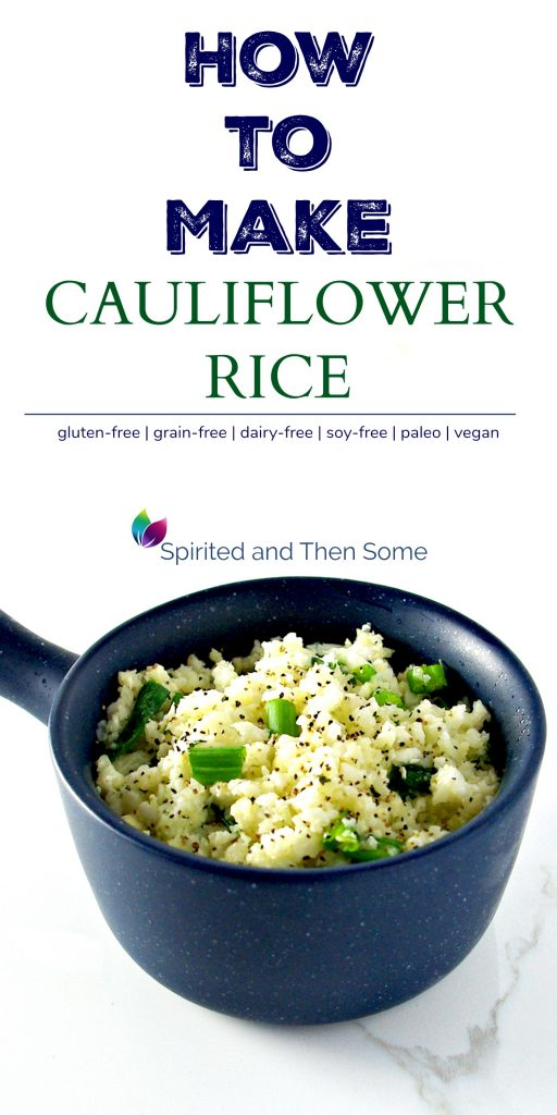 Cauliflower rice in a blue bowl with green onions on a white marble surface. | spiritedandthensome.com