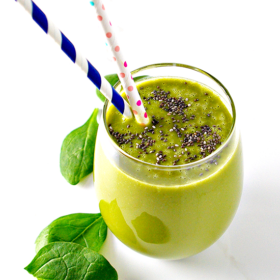 Matcha, spinach, and chia seeds in a glass. | spiritedandthensome.com