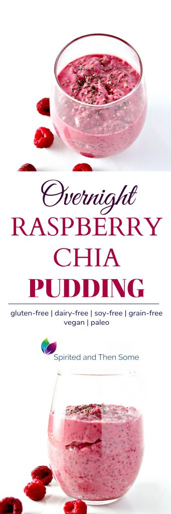 Overnight Raspberry Chia Pudding image collage. | spiritedandthensome.com