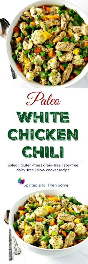 This easy Paleo White Chicken Chili is a spicy no-bean chili recipe that's perfect for dinner and as leftovers! With jalapeños, sweet peppers, cumin, and oregano, it's a family favorite! | spiritedandthensome.com
